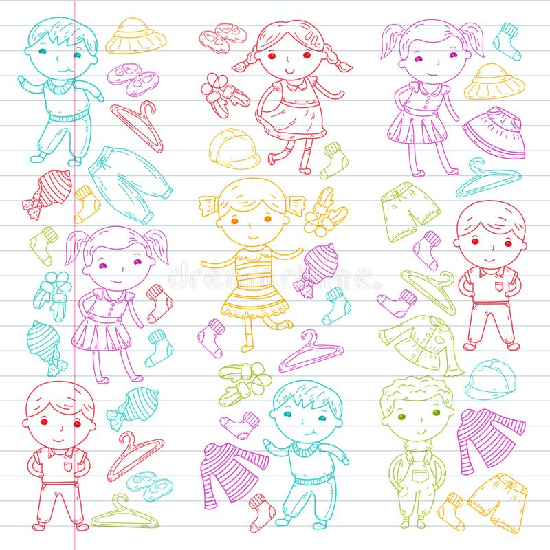 Grupo de roupa das crianças Ícones do vetor kindergarten berçário atelier Roupa da escola Roupa do verão Loja das crianças ilustração stock