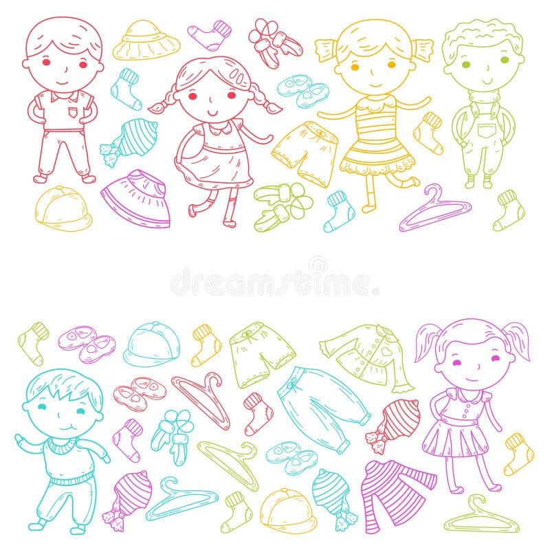 Grupo de roupa das crianças Ícones do vetor kindergarten berçário atelier Roupa da escola Roupa do verão Loja das crianças ilustração do vetor