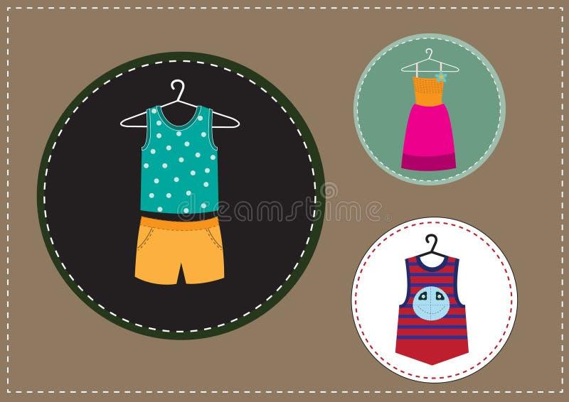 Grupo de roupa das crianças ilustração stock