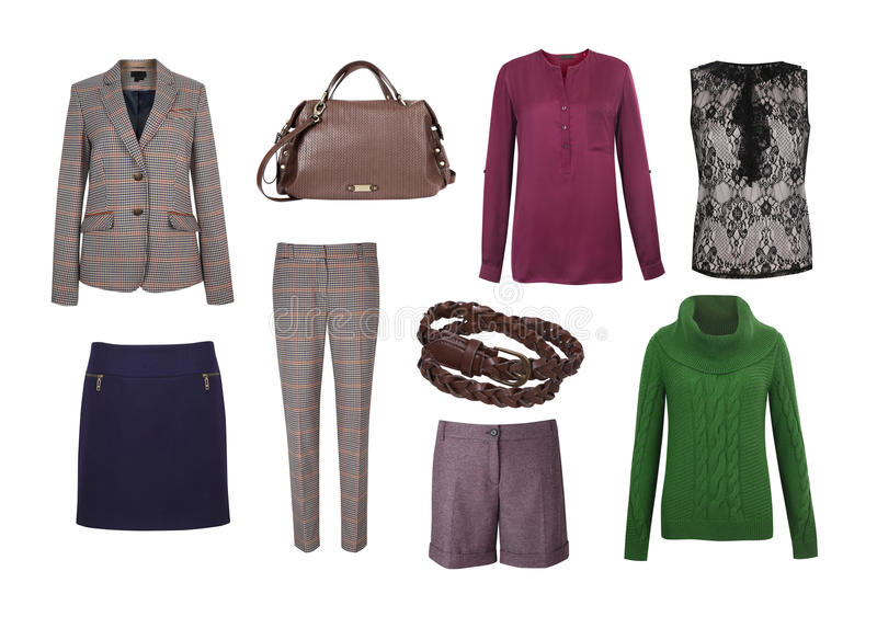 Grupo de roupa das mulheres da cor imagens de stock royalty free