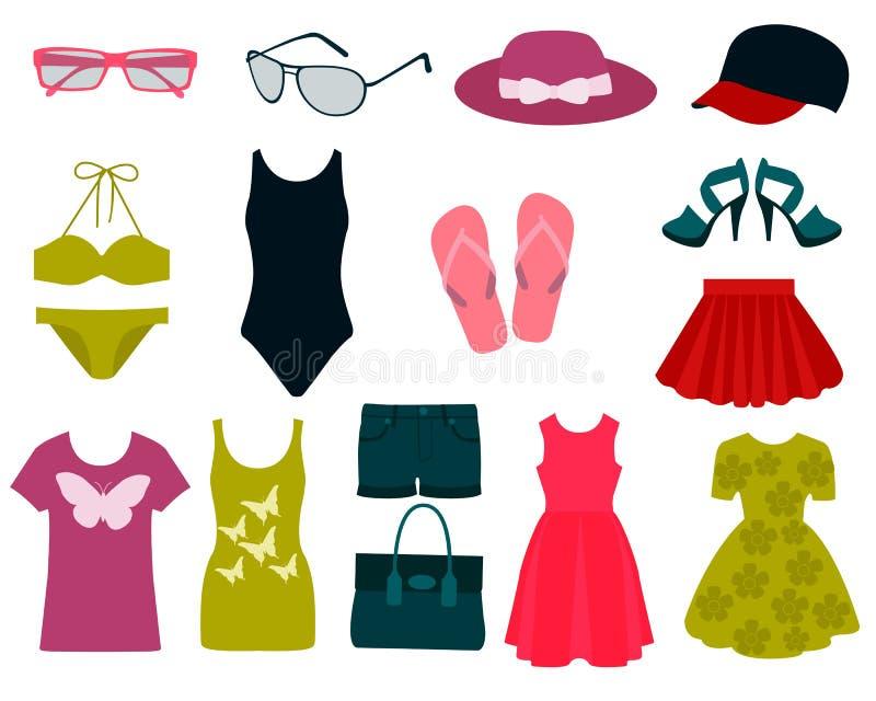 Grupo de roupa do verão ilustração do vetor