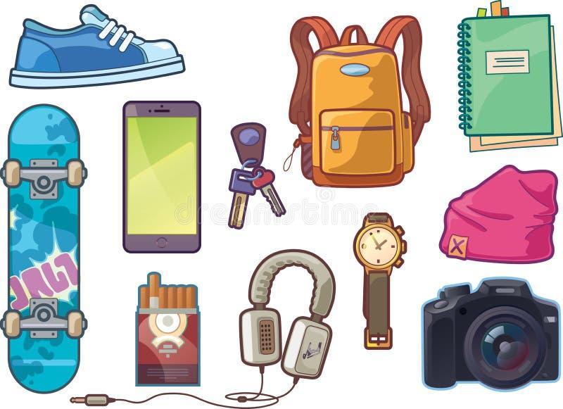 Grupo de roupa e de acessórios ilustração royalty free