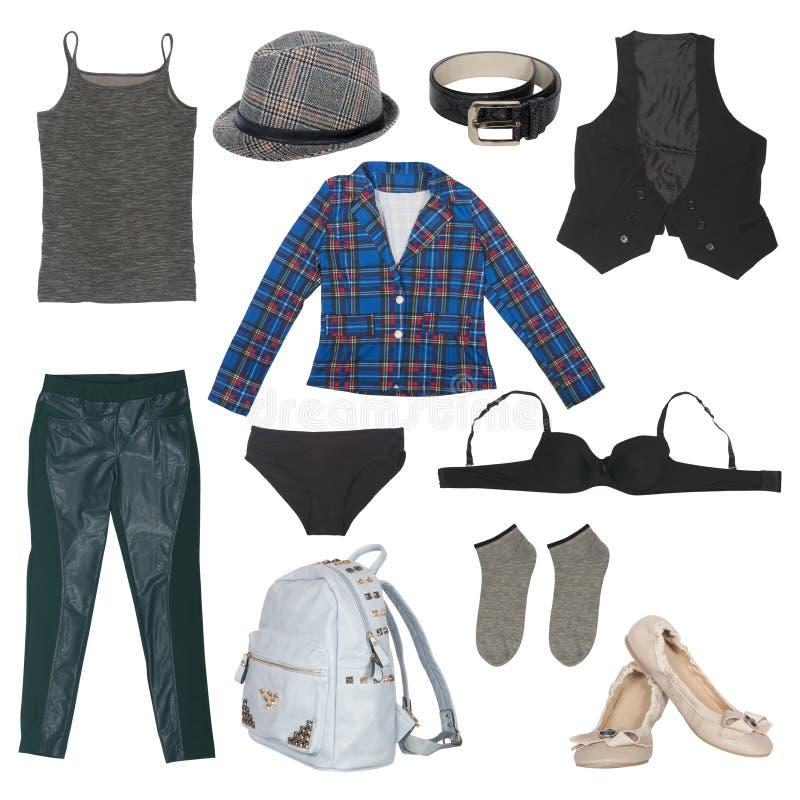 Grupo de roupa e de acessórios fêmeas fotografia de stock royalty free