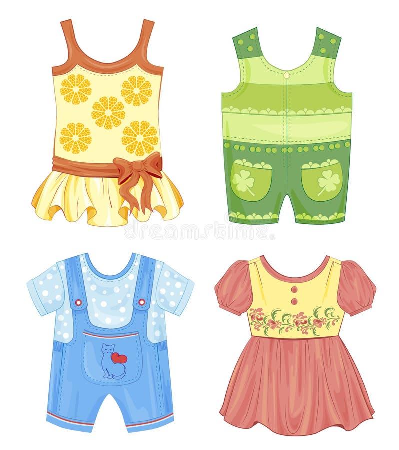 Grupo de roupa para crianças ilustração royalty free