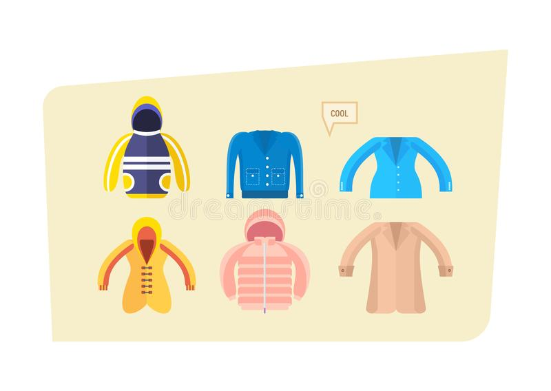 Grupo de roupa para meninos e meninas no tempo diferente ilustração stock