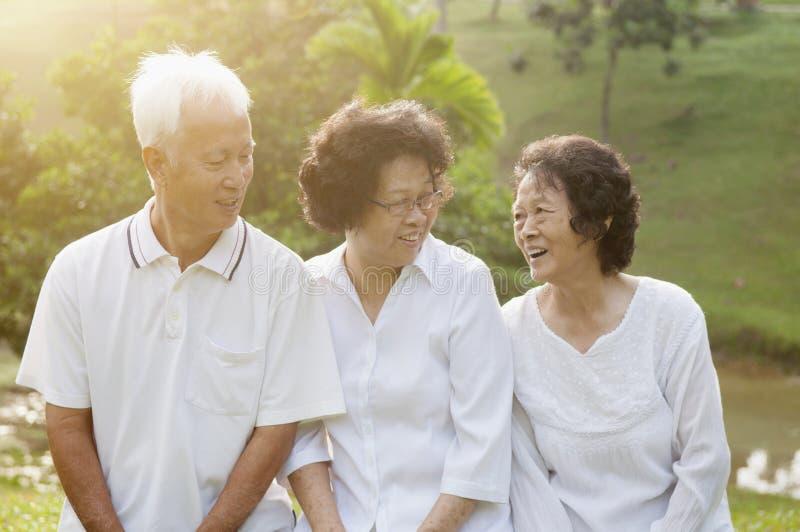 Grupo de sêniores asiáticos no parque foto de stock