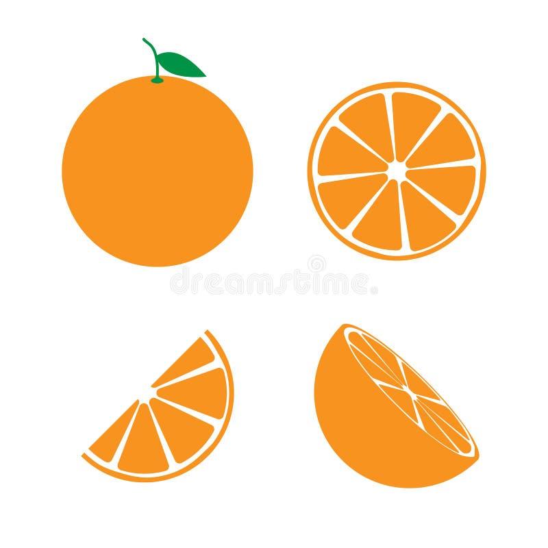 Grupo de símbolo alaranjado do ícone do fruto ilustração stock