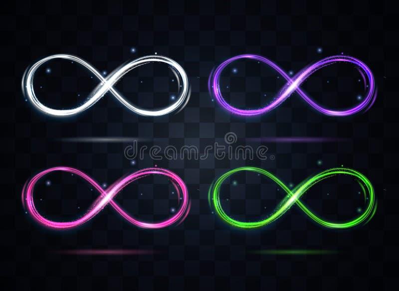 Grupo de s?mbolo brilhante da infinidade da cor em um fundo escuro Vetor ilustração do vetor