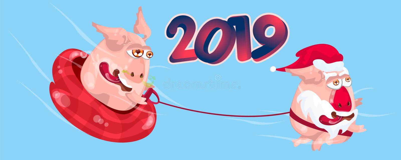 Grupo de símbolo chinês do porco de 2019 anos com emoções diferentes Ilustração isolada vetor Projeto criativo do ano novo ilustração royalty free