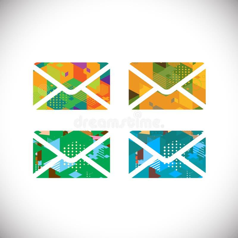 Grupo de símbolo colorido dos envelopes com o gráfico geométrico colorido, o vetor & a ilustração ilustração royalty free