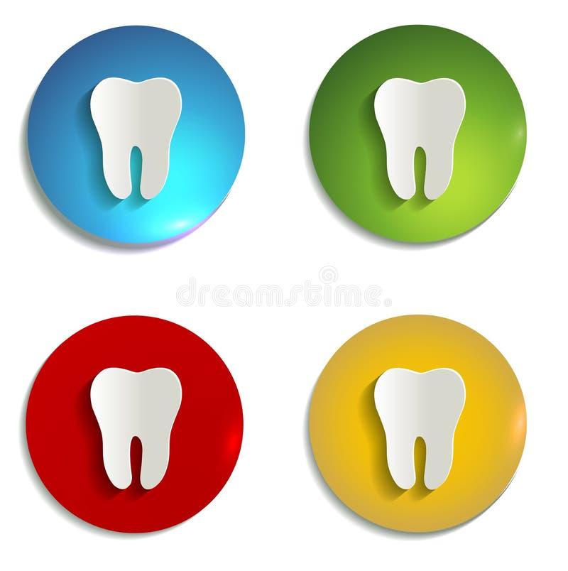 Grupo de símbolo de papel colorido do dente ilustração royalty free