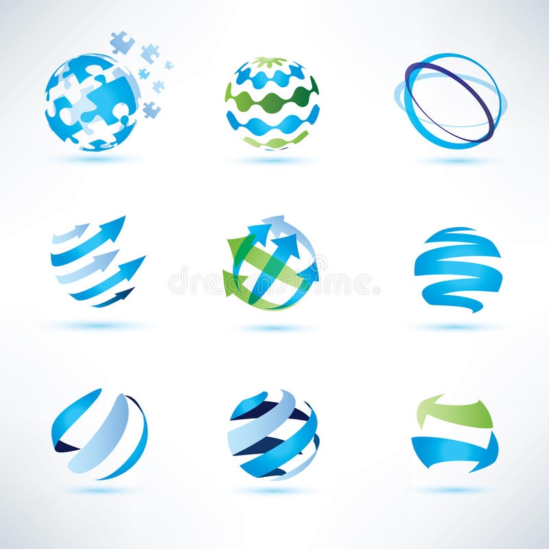 Grupo de símbolo do globo, uma comunicação e ícones abstratos da tecnologia ilustração stock
