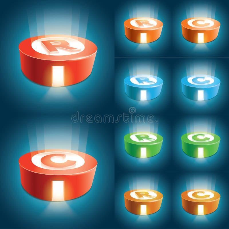 Grupo de símbolo do registo e do Copyright ilustração do vetor