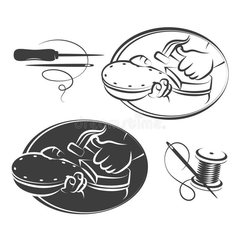 Grupo de símbolo do reparo da sapata ilustração stock