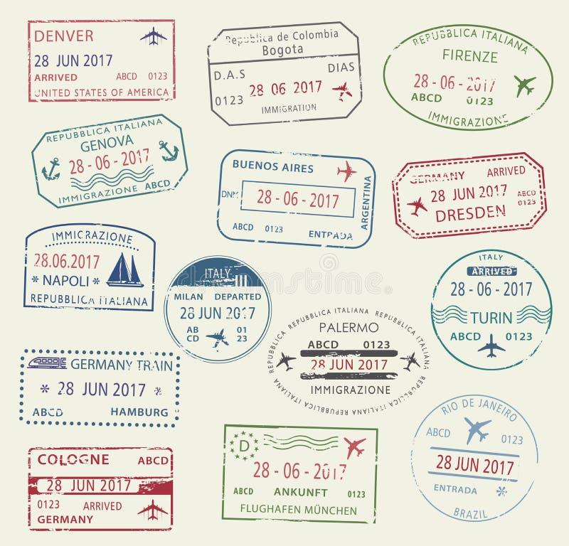 Grupo de símbolo do selo do passaporte do visto para o projeto do curso ilustração royalty free