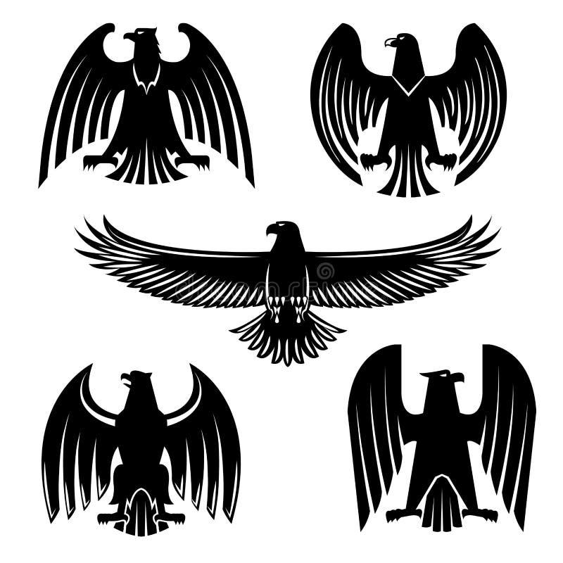 Grupo de símbolo heráldico preto da águia, do falcão ou do falcão ilustração do vetor