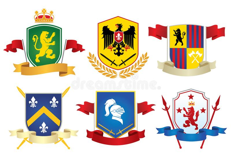 Grupo de símbolo herladic simples ilustração royalty free