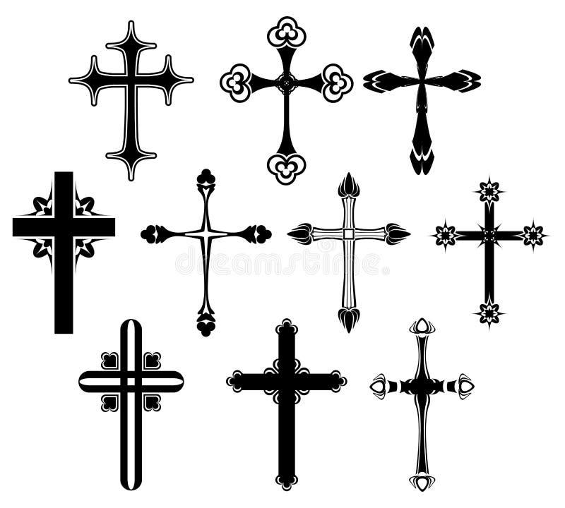 Grupo de símbolo transversal ilustração stock
