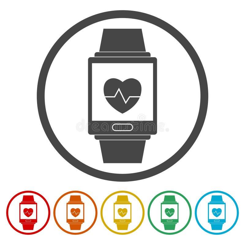 Grupo de símbolo wearable da tecnologia de Smartwatch ilustração royalty free