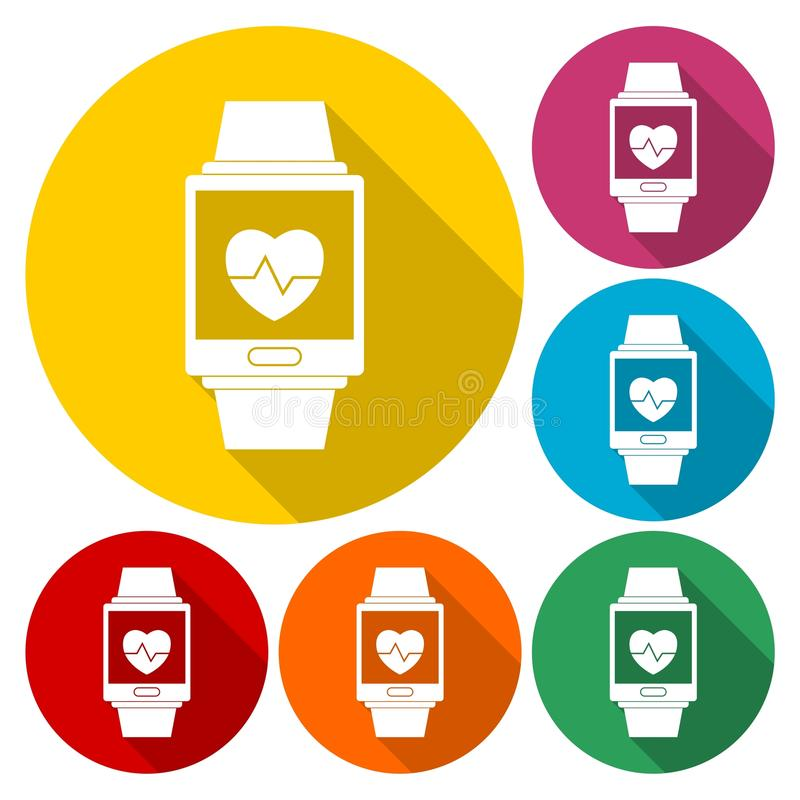 Grupo de símbolo wearable da tecnologia de Smartwatch com sombra longa ilustração stock