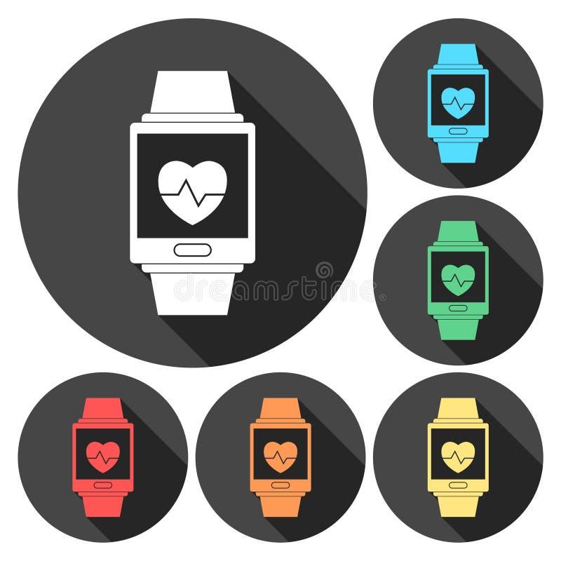 Grupo de símbolo wearable da tecnologia de Smartwatch com sombra longa ilustração do vetor