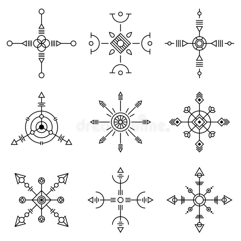 Grupo de símbolos abstrato da geometria Sinais místicos isolados ilustração do vetor