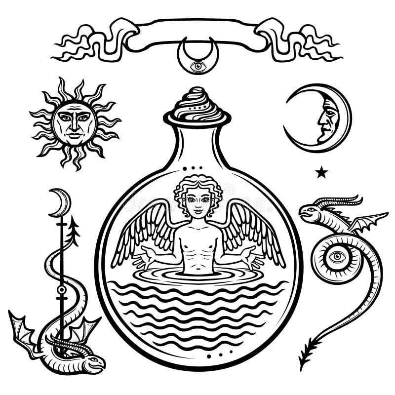 Grupo de símbolos alquímicos Criança em um tubo de ensaio, homúnculo, reação química Anjo Origem da vida ilustração royalty free