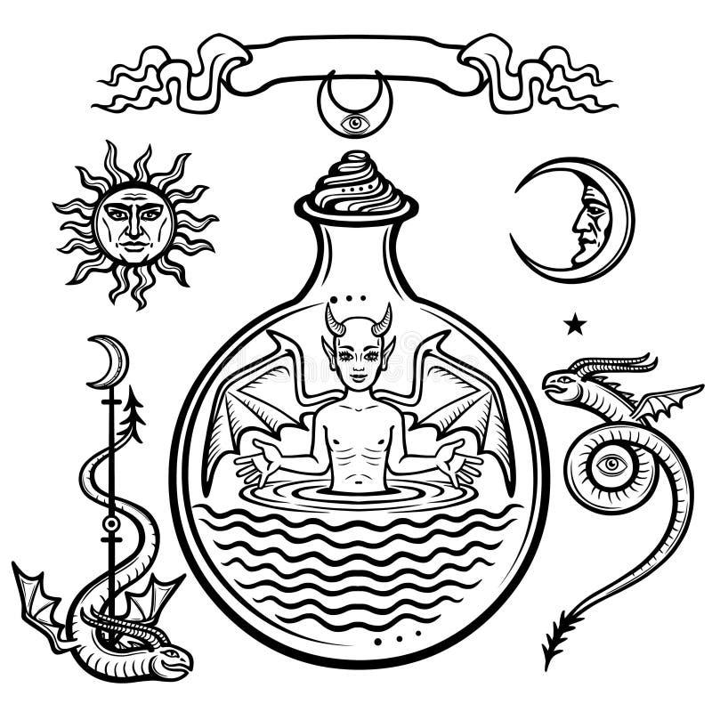 Grupo de símbolos alquímicos Criança em um tubo de ensaio, homúnculo, reação química Diabo Origem da vida ilustração stock