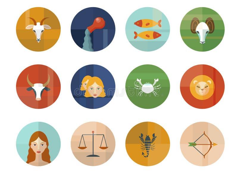 Grupo de símbolos astrológicos do zodíaco horoscope ilustração do vetor