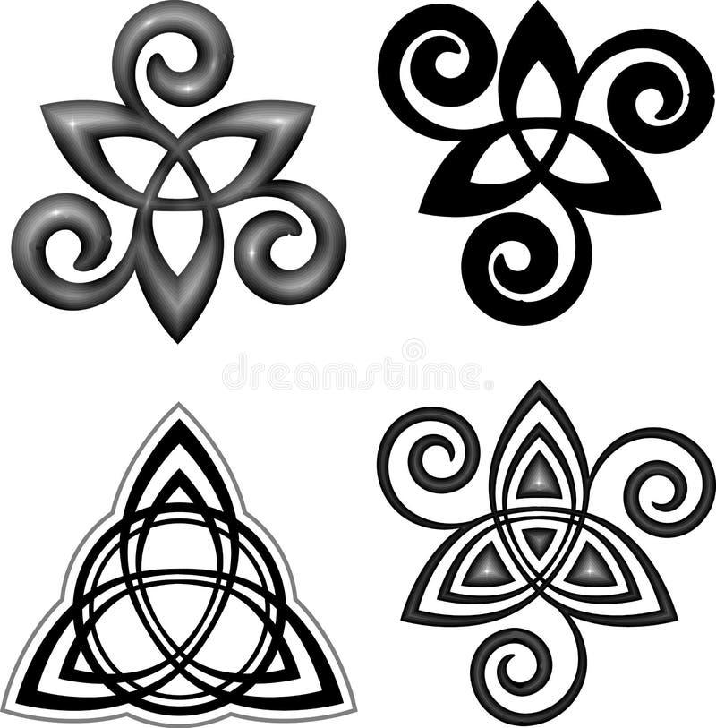Grupo de símbolos celta do triskel do vetor ilustração do vetor