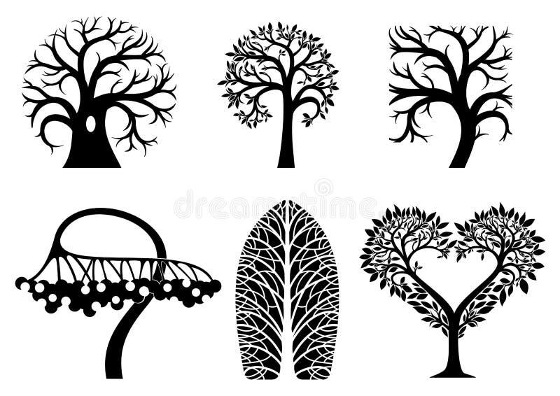 Grupo de símbolos da árvore da arte ilustração royalty free