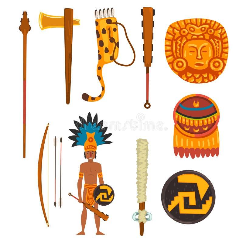 Grupo de símbolos da civilização do Maya, ilustração tribal americana antiga do vetor dos elementos da cultura em um fundo branco ilustração do vetor
