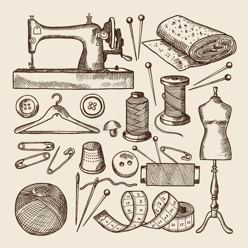 Grupo de símbolos da costura do vintage O vetor representa à disposição o estilo tirado ilustração stock