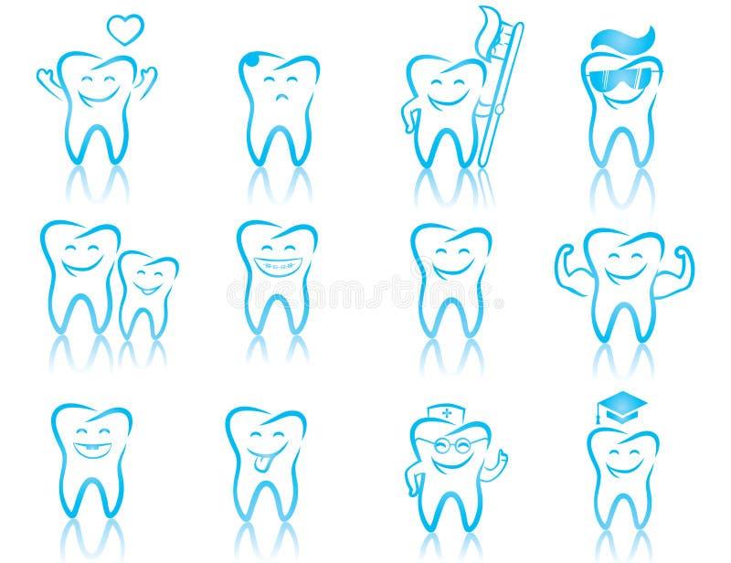 Grupo de símbolos da odontologia ilustração royalty free