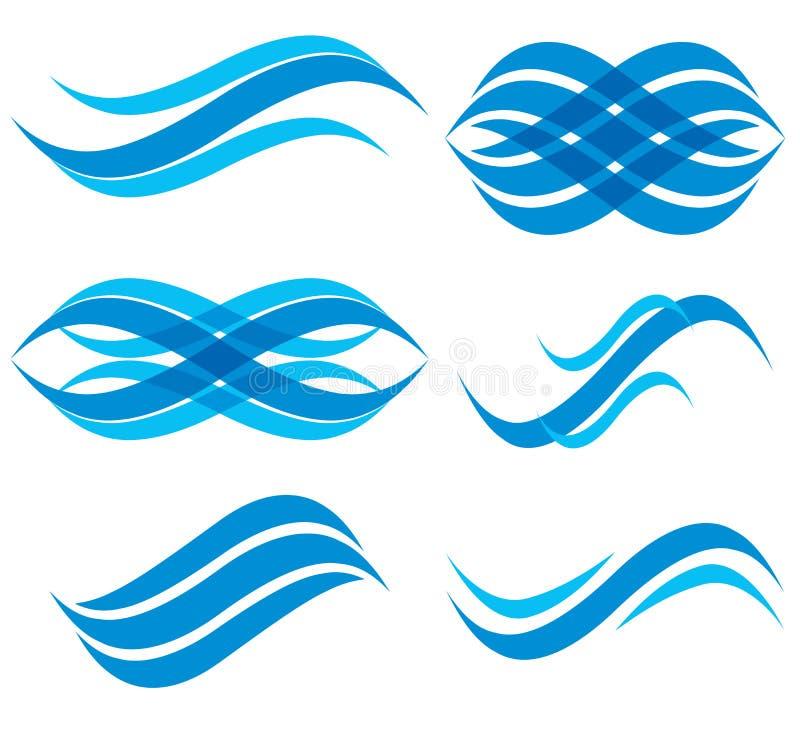 Grupo de símbolos da onda, vetor ilustração stock
