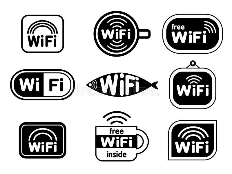 Grupo de símbolos das etiquetas do wifi fotografia de stock royalty free