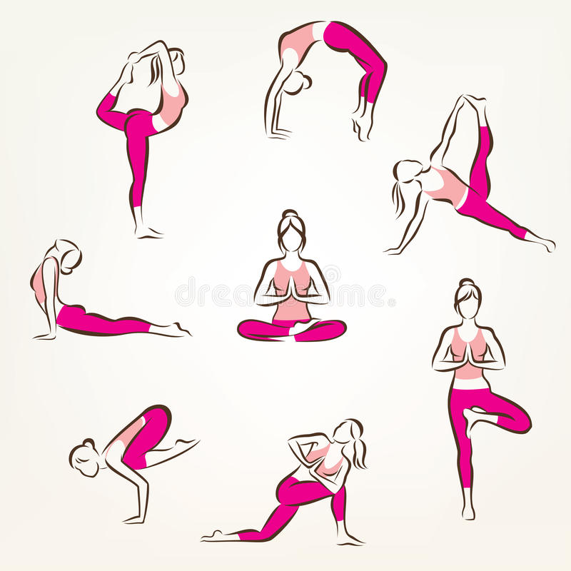 Grupo de símbolos das poses da ioga e dos pilates ilustração do vetor