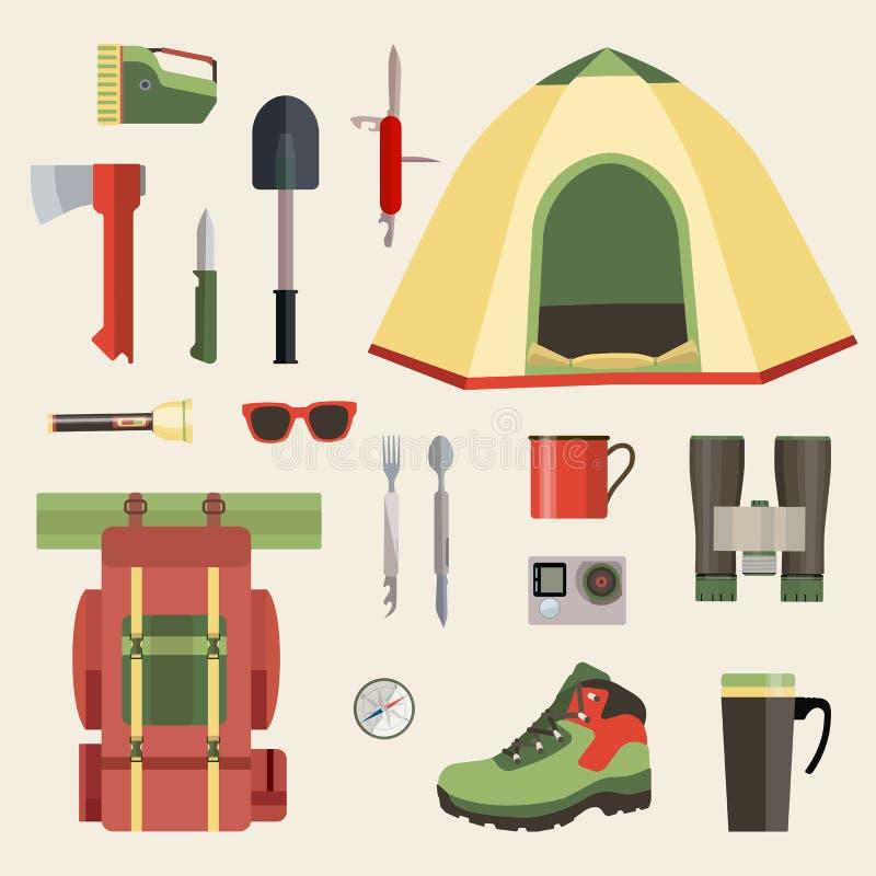 Grupo de símbolos, de ícones e de ferramentas de acampamento do equipamento Ilustração do vetor ilustração do vetor