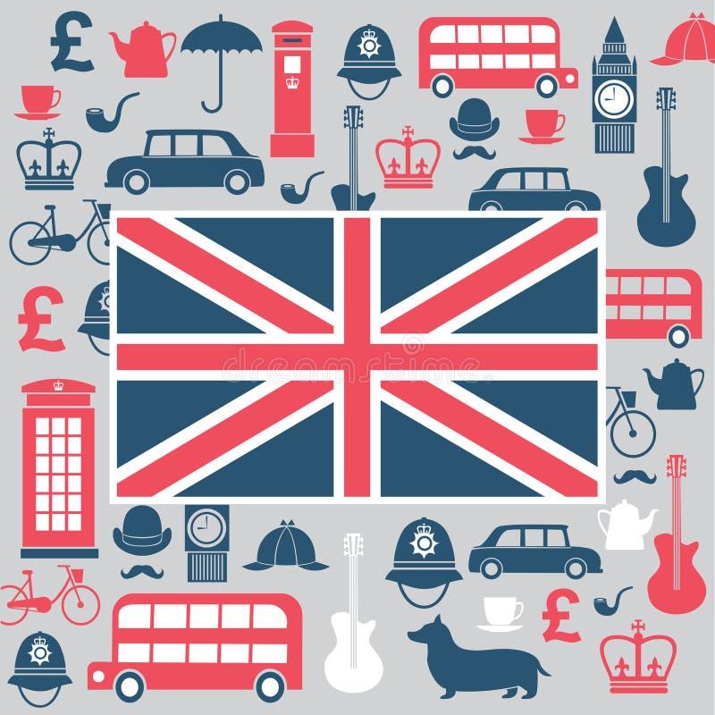 Grupo de símbolos de Grâ Bretanha ilustração royalty free