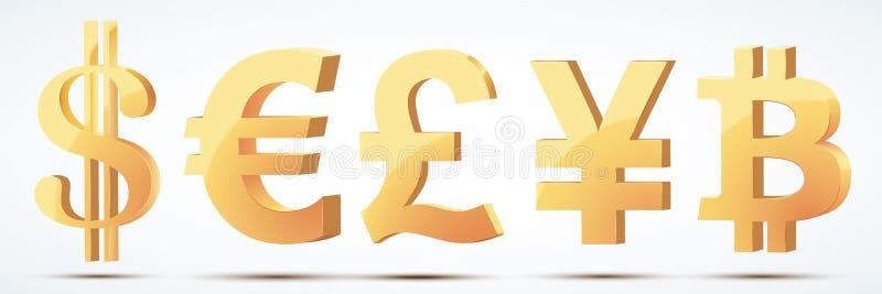 Grupo de símbolos de moeda do ouro ilustração royalty free