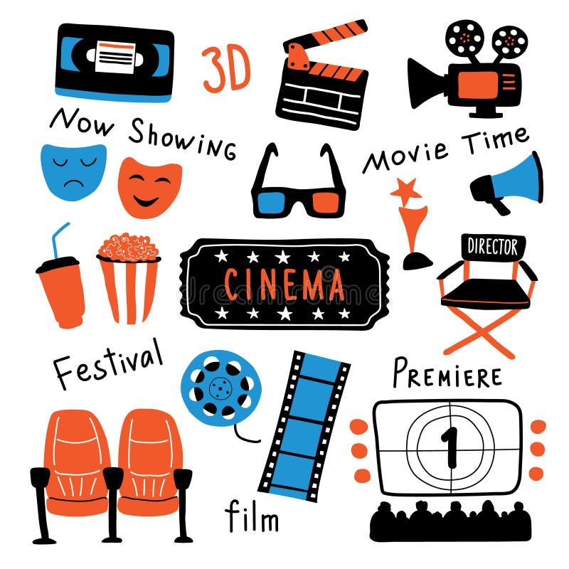 Grupo de símbolos do cinema com rotulação da tinta O tempo de filme e 3d os vidros, pipoca, clapperboard, bilhete, tela, câmera,  ilustração do vetor