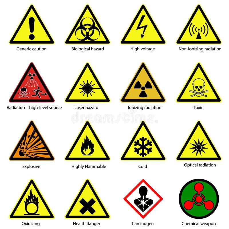Grupo de símbolos do perigo ilustração stock