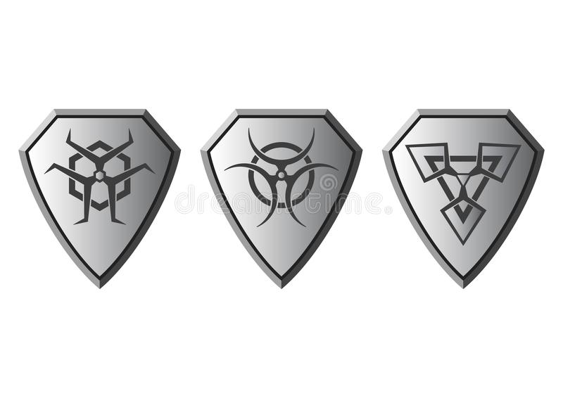 Grupo de símbolos do perigo, vetor imagens de stock royalty free