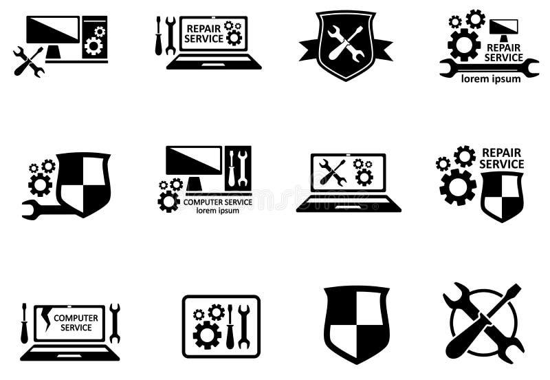 Grupo de símbolos do servço informático e do reparo ilustração royalty free