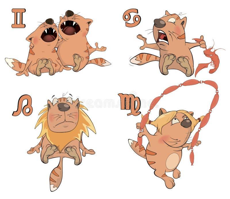 Grupo de símbolos do zodíaco com gatos Isolado no branco cartoon ilustração royalty free