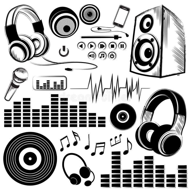 Grupo de símbolos e de ícones de música esboçado ilustração stock