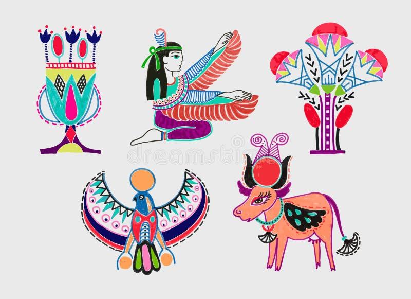 Grupo de símbolos egípcios antigos do desenho de esboço do marcador ilustração stock