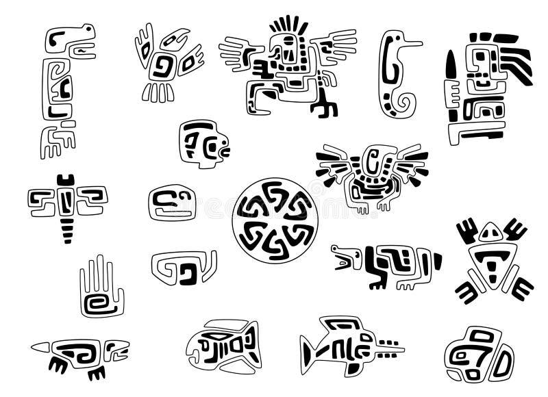Grupo de símbolos estilizados do nativo americano ilustração do vetor