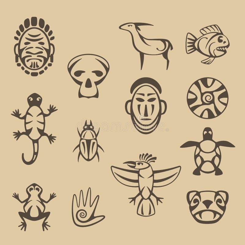 Grupo de símbolos estilizados do nativo americano ilustração royalty free