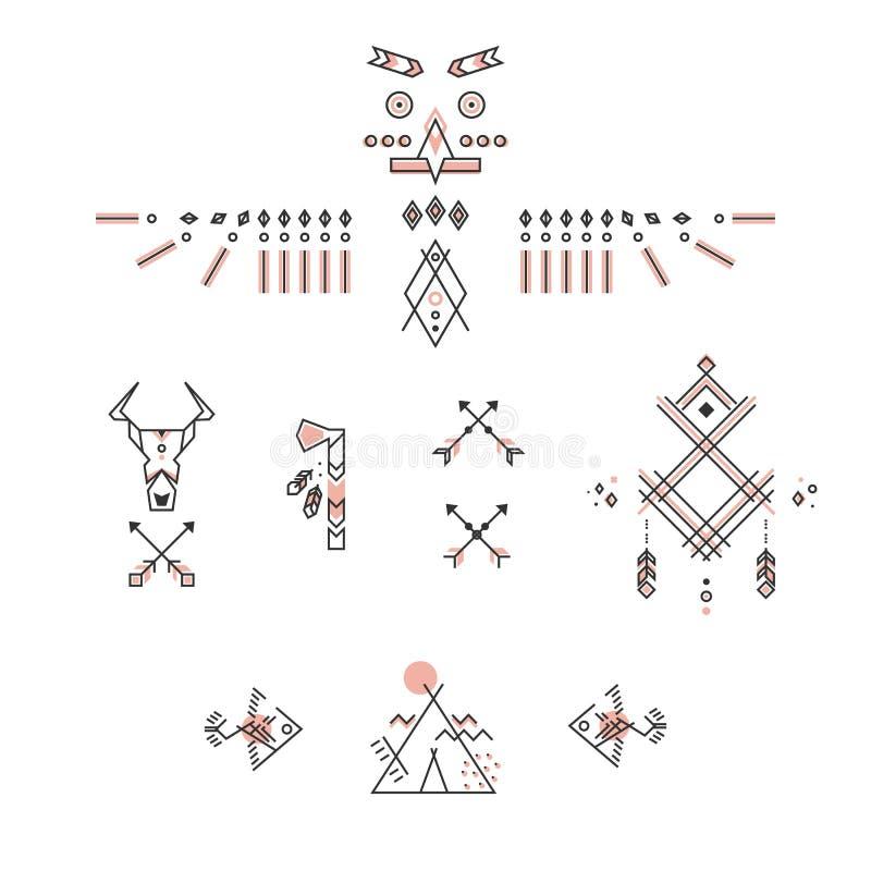 Grupo de símbolos indianos americanos Projeto linear estilizado ilustração stock